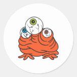 three eyeballs monster classic round sticker