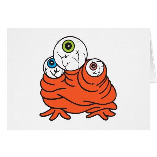 three eyeballs monster greeting card
