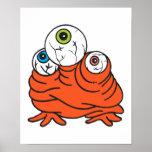 three eyeballs monster poster