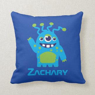 Three eyed alien blue & green kids name pillow