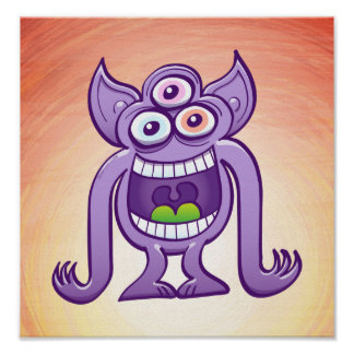 Three-eyed alien monster laughing mischievously poster