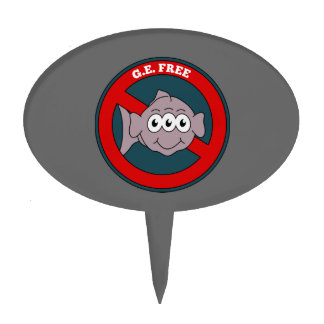 Three eyed fish G.E. free sign Cake Topper