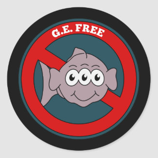 Three eyed fish G.E. free sign Classic Round Sticker