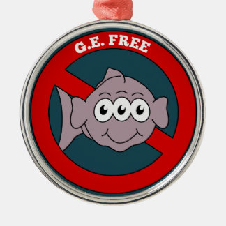 Three eyed fish G.E. free sign Metal Ornament