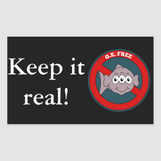 Three eyed fish G.E. free sign Rectangular Sticker