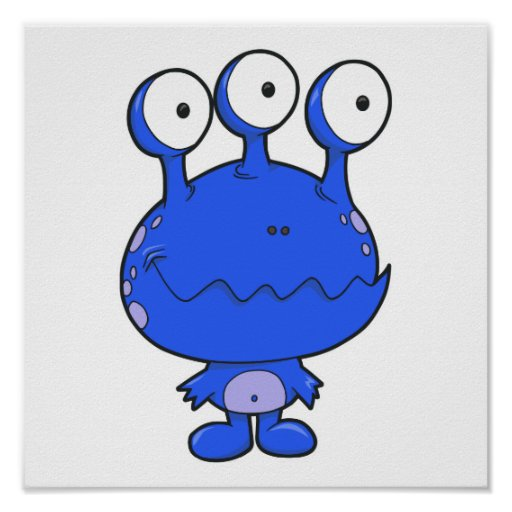 three eyed happy monster blue posters