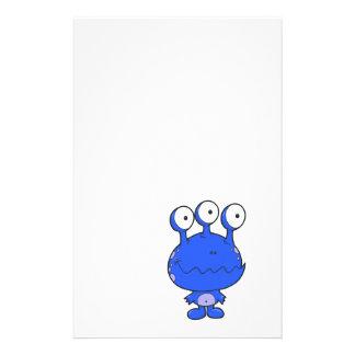 three eyed happy monster blue stationery design