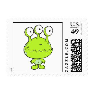 three eyed happy monster green postage