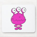 three eyed happy monster  hot pink mouse pad