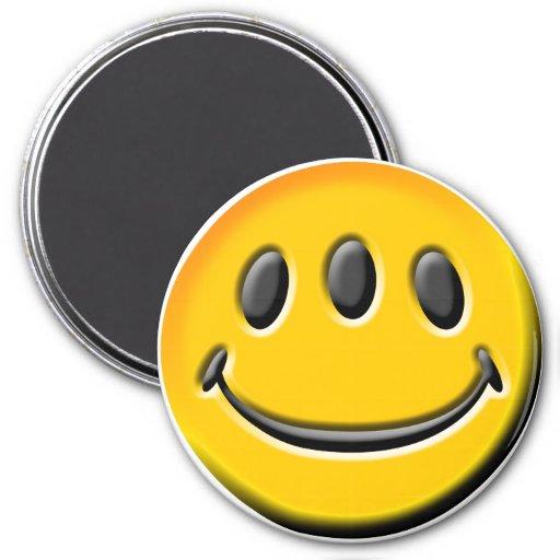 Three-Eyed Smiley 3 Inch Round Magnet