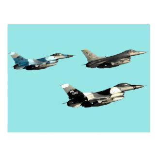 Three F16 Falcons Postcard