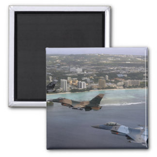 Three F-16 Fighting Falcons fly in formation 2 Inch Square Magnet