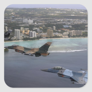 Three F-16 Fighting Falcons fly in formation Square Sticker
