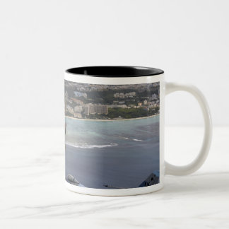 Three F-16 Fighting Falcons fly in formation Two-Tone Coffee Mug