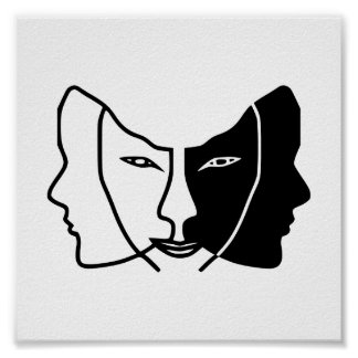 three faces black white gemini poster