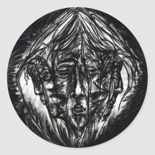 Three Faces Goth Black and White Charcoal Classic Round Sticker