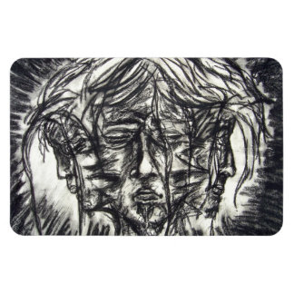 Three Faces Goth Black and White Charcoal Magnet