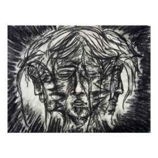 Three Faces Goth Black and White Charcoal Poster
