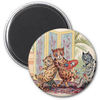 Three Falling Cats by Louis Wain 2 Inch Round Magnet