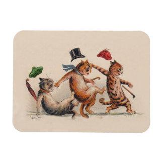 Three Falling Cats by Louis Wain - Cute Animals Rectangular Photo Magnet
