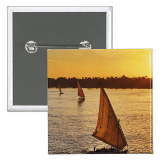 Three falukas with sightseers on Nile River at 2 Inch Square Button