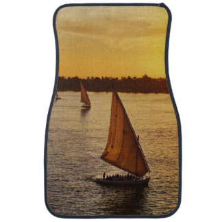 Three falukas with sightseers on Nile River at Car Floor Mat