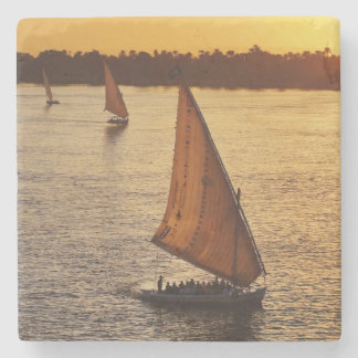 Three falukas with sightseers on Nile River at Stone Beverage Coaster