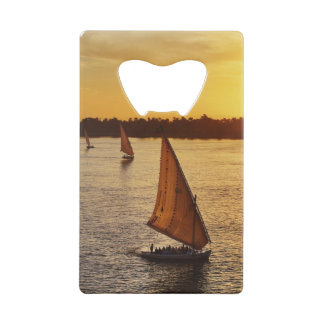 Three falukas with sightseers on Nile River at Credit Card Bottle Opener