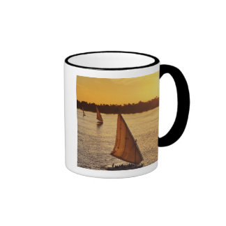 Three falukas with sightseers on Nile River at Ringer Coffee Mug