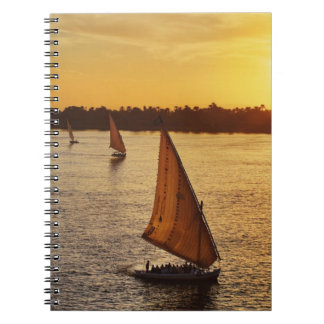 Three falukas with sightseers on Nile River at Spiral Notebook