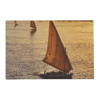 Three falukas with sightseers on Nile River at Laminated Place Mat