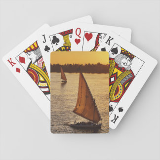 Three falukas with sightseers on Nile River at Poker Deck