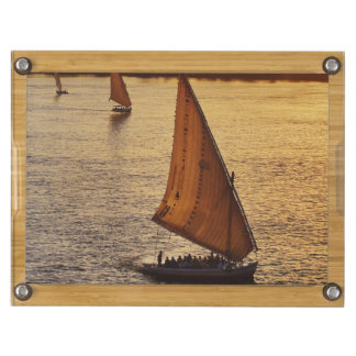 Three falukas with sightseers on Nile River at Rectangular Cheeseboard