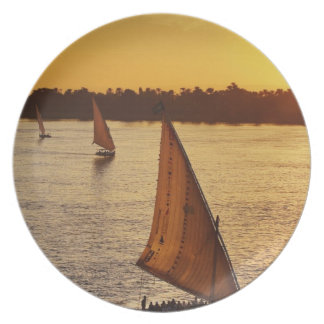 Three falukas with sightseers on Nile River at Party Plates