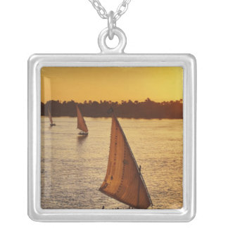 Three falukas with sightseers on Nile River at Square Pendant Necklace