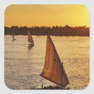 Three falukas with sightseers on Nile River at Square Sticker
