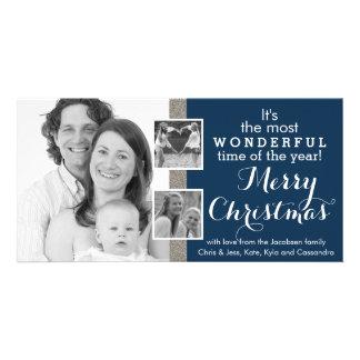 Three Family Instagram Photos Holiday Christmas Photo Card