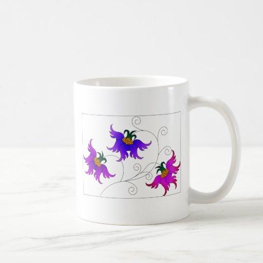 Three fantasy flowers coffee mug