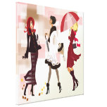 Three Fashion Models Wrapped Canvas Canvas Print