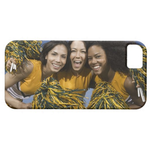 Three female cheerleaders holding pompoms iPhone 5 cover