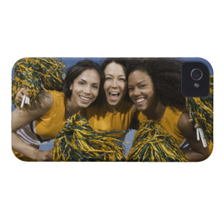 Three female cheerleaders holding pompoms iPhone 4 Case-Mate case