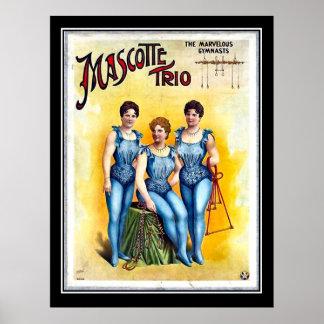 Three Female Gimnasts Vintage Circus Poster Print