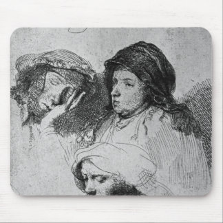 Three female heads with one sleeping 1637 mousepad