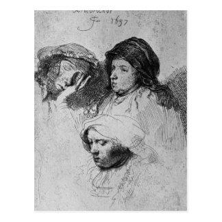 Three female heads with one sleeping, 1637 postcard