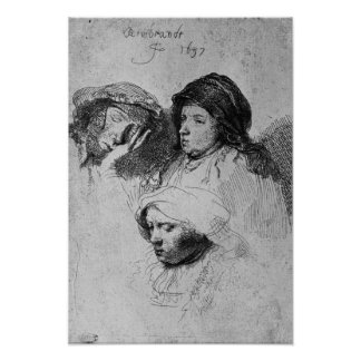 Three female heads with one sleeping, 1637 poster