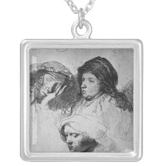 Three female heads with one sleeping, 1637 square pendant necklace