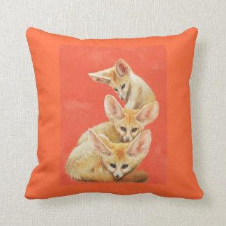 Three Fennec Fox Kits pillow