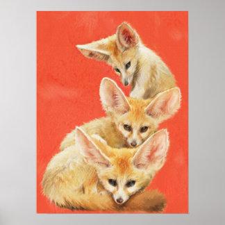 Three Fennec Fox Kits Poster