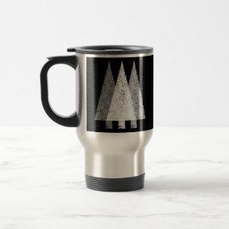 Three Festive Trees. White on Black. Coffee Mug