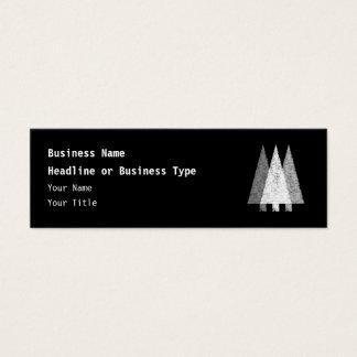 Three Festive Trees. White on Black. Mini Business Card